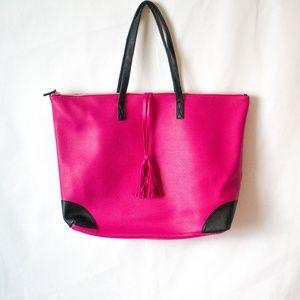 Big Pink Zippered Tote Bag (20 X 15)